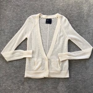 American Eagle Outfitters Cream Cardigan